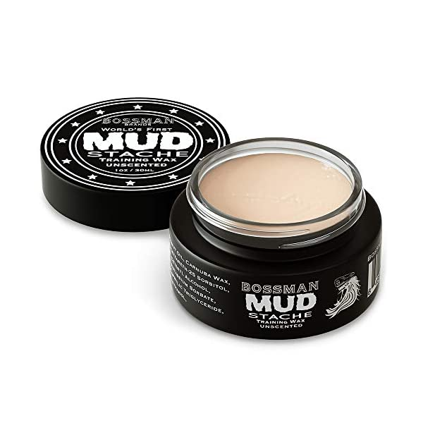 Bossman MUDstache Wax Unscented Mustache Wax - Mustach Grooming Care - Strong Hold for Taming, Training and Styling (1oz… 1