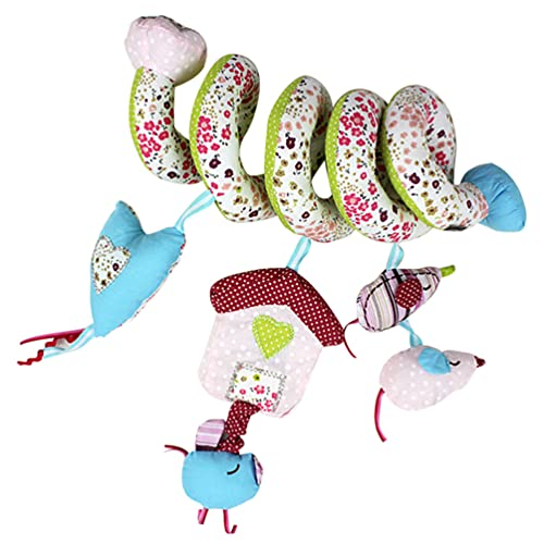 Kisangel Cochecito Espiral Juguete Espiral Tela Animal Colgante Silla de Juguete con Espejo Campana Cuna Colgante Decoración Musical para Bebé Estilo Infantil 3