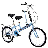 Landscap 20' Folding City Bike Bicycle 6 Speed High Carbon Steel Tandem Bicycle Lightweight Mini Removable Bike Portable Cycling