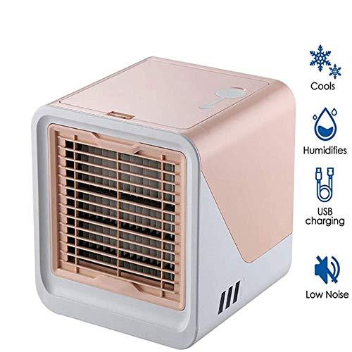 Cxefq Mini Enfriador de Aire, Mini Ventilador portátil de Aire Acondicionado, humidificador de Aire evaporativo silencioso, Velocidad de 3 velocidades, Luces LED de 7 Colores-Rosado