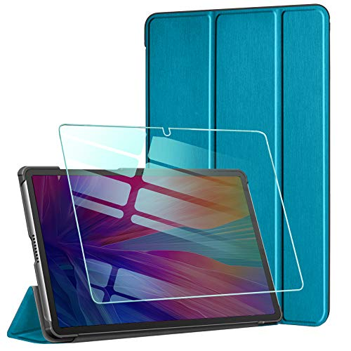 AROYI Hulle Kompatibel mit Huawei MatePad T10S T10 2020 und Panzerglas Ultra Schlank Schutzhulle Hochwertiges PU mit Standfunktion Glas Panzerfolie Pfauenblau