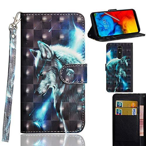 Ooboom LG Stylus 4/LG Stylo 4/LG Q Stylus Hülle 3D Flip PU Leder Schutzhülle Handy Tasche Hülle Cover Ständer mit Kartenfach Trageschlaufe für LG Stylus 4/LG Stylo 4/LG Q Stylus - Wolf