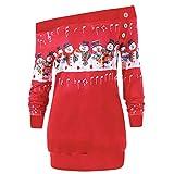 OverDose Damen Womens Frohe Weihnachten Plus Size Pullover Hirsch Elch Printed Party Startseite...