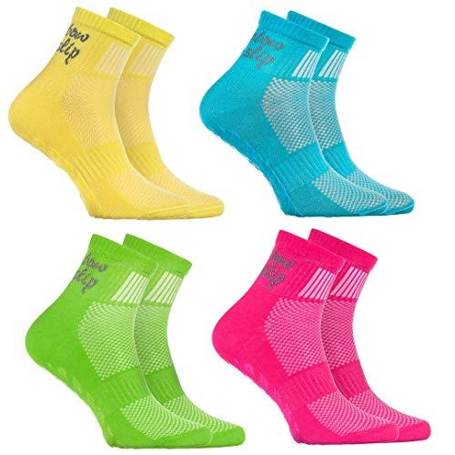Rainbow Socks - Jungen Mädchen Sneaker Baumwolle Antirutsch Sport Stoppersocken - 4 Paar - Gelb Türkis Grün Rosa - Größen 30-35