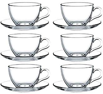 Pasabahce 97948 - Juego de 12 tazas con platillo, para té, café, capuchino, para 6 personas