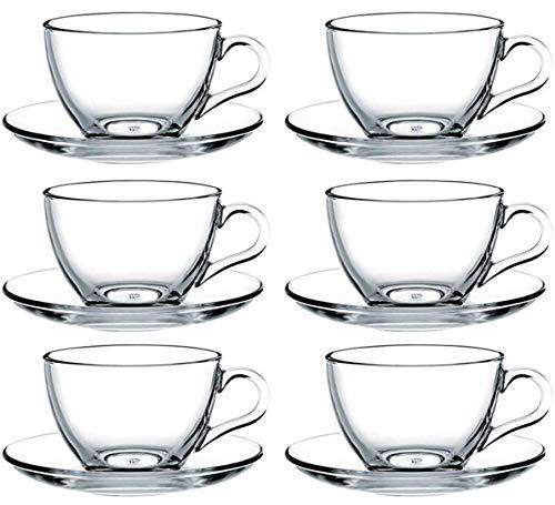 Pasabahce 97948-12-TLG Tassen mit Unterteller Basic, für Tee, Kaffee, Cappuccino, für 6 Personen