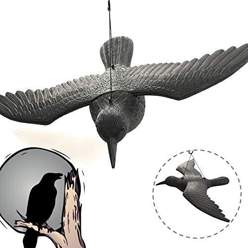 Faimex Vogelschreck wirksamer Taubenschreck Vogelabwehr Vogel Atrappe aus Plastik gegen Tauben Kunststoff Rabe in schwarz schwarzer Tauben Schreck Rabenschreck Abwehr für Balkon und Garten Tierfigur