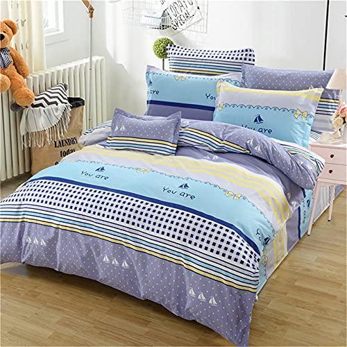 ALRZ Juego de sábanas de algodón puro + funda de edredón de 1,8 metros de 180 x 220 + 2 fundas de almohada (juego de 4 piezas)