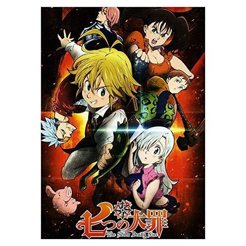 CAR-TOBBY Anime Nanatsu No Taizai The Seven Deadly Sins Póster de Pared Colección Arte Regalo - H09, 16.5 x 11.7 Inches