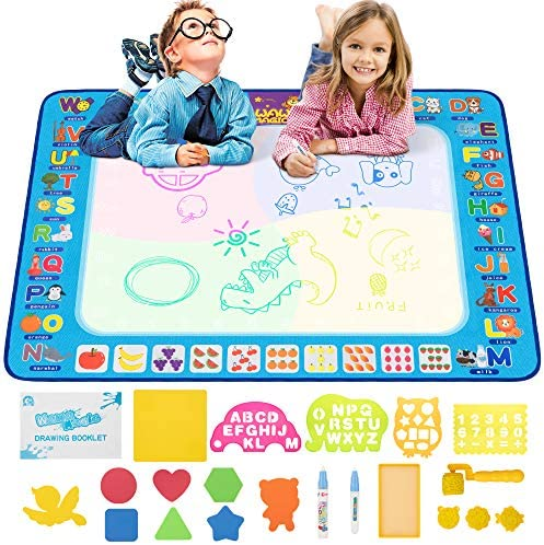 KIDWILL Aqua Magic Doodle Mat 39 X 30 Inches Large Size Reusable Water Drawing Coloring Mat product image