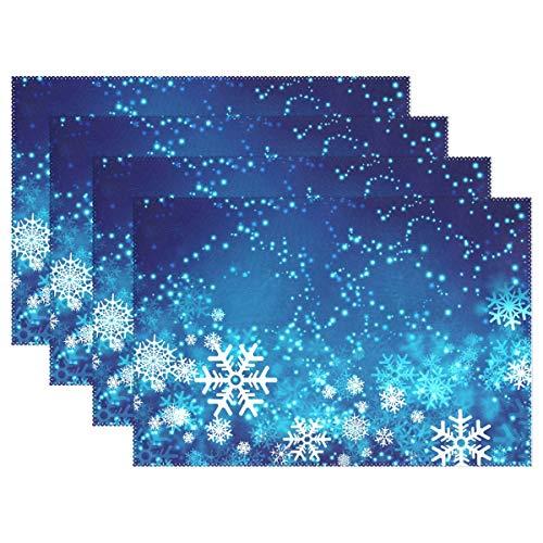 WOOR - Manteles Individuales de Copos de Nieve Azules para Mesa de Comedor, Resistente al Calor, decoración del hogar, Lavable, 1 Pieza