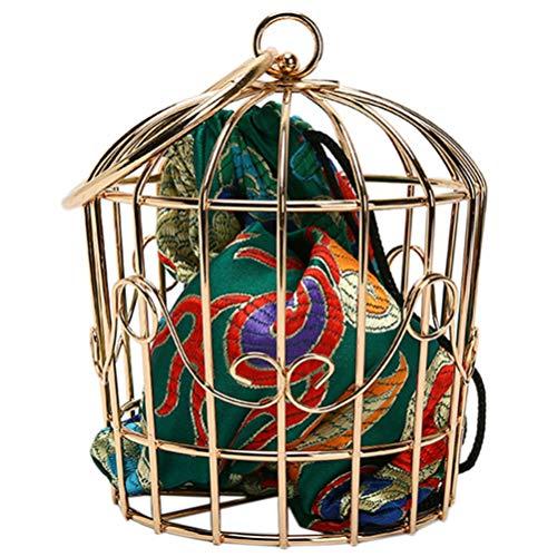 ABOOFAN Bolsa de cuerpo cruzado con cadena para mujer, de hierro, con tirantes de jaula de pájaros, estilo étnico, bolsa de mano, regalo para mujeres y niñas, cumpleaños (amarillo)