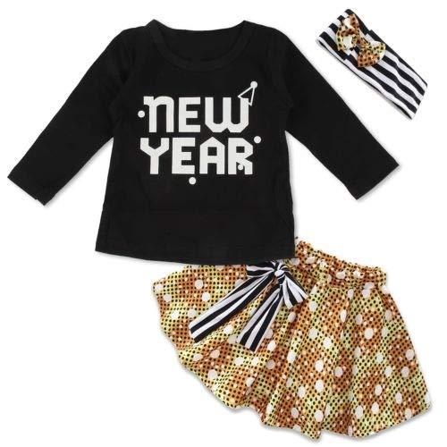 Tianhaik Baby Meisje Jurk Pak Leuke Zwart Gedrukt Lange Mouw Top Kleding + +Rok+Hoofdband voor 0-18 Maanden
