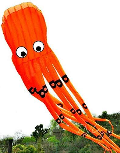 AP Happy Aquarium - Huge 8M 3D Octopus Parafoil Kite Orange with Handle & String Outdoor Park Garden Games Fun