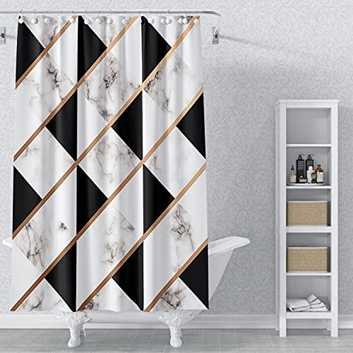 AWERT 165x180cm Mármol Cortina De La Ducha Abstracto Negro Blanco Geométrico Cortina De Ducha para Baño Impermeable Tejido De Poliéster Conjunto con Ganchos