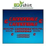 Ecoshirt DZ-VCYB-V9BU Pegatinas Stickers Cuadro Frame Cannondale Scalpel Am26 Aufkleber Decals Adesivi Bike BTT MTB Cycle, Rojo