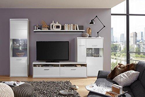 lifestyle4living Wohnwand, Wohnzimmerschrank, Anbauwand, Schrankwand, Fernsehwand, Wohnzimmerschrankwand, Wohnschrank, Hochglanz, weiß, grau