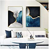 cuadros decoracion salon Carteles de pintura en lienzo de colores fríos abstractos e impresión minimalista arenas movedizas Cuadro de arte de pared para sala de estar dormitorio decoración del hogar