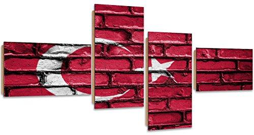 Feeby. Wandbilder - 4 Teile - Gedrucktes Bild, Foto, Kunstdrucke, Deko Panel, 4-Teilig Typ Z, 160x80 cm, TÜRKEI, Flagge, Ziegel, ROT