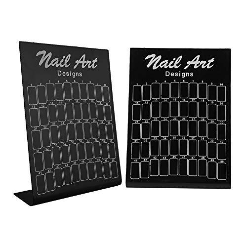 Carte de couleur des ongles, 50Pcs Nail Art, Tableau de présentation des graphiques, carte de gel pour vernis à ongles, outil de manucure pour la pratique des ongles, support de palette pour(Noir)