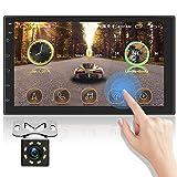 OiLiehu Audio para automóvil Double DIN Bluetooth,Pantalla Digital de Ultra Alta definición de 7 Pulgadas,Enlace de Espejo de Soporte,Control del Volante de Marcha,WiFi,GPS+cámara de visión Trasera