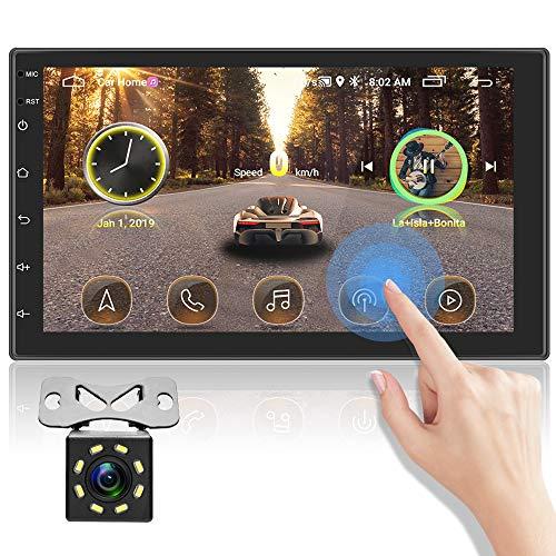 OiLiehu Double Din Bluetooth Autoradio, 7 Zoll HD Touchscreen FM Radio, Unterstützung von Mirror Link / WiFi / GPS / D-Play / OBD / Rückfahrfunktion / Lenkradsteuerung + Rückfahrkamera