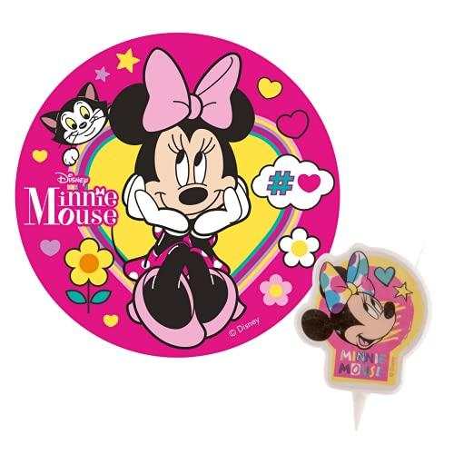Pack Decoración Tartas de Cumpleaños Infantiles - Disco de Oblea Comestible y Vela de Cumpleaños - Personaje Minnie Mouse