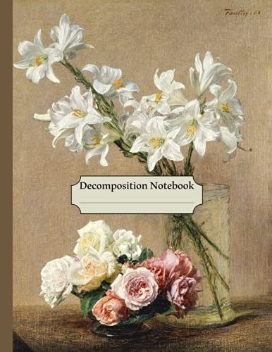 Decomposition Notebook: Flower-Patterned College Ruled Paper, Vintage Roses and Lilies (1888) , Floral Journal - 120 Pages Wide Lined Notebook