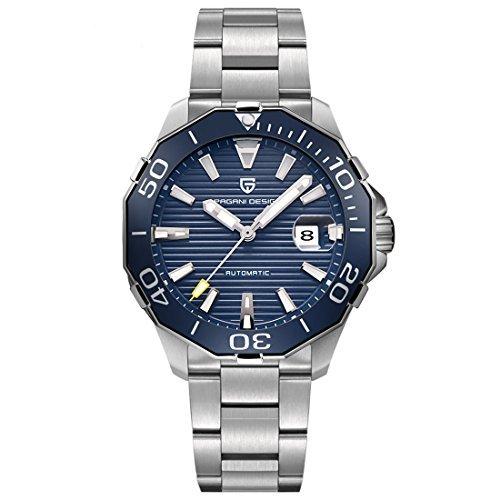 Pagani Design - Orologio da uomo automatico luminoso, funzione data display, orologio da polso al quarzo, quadrante blu