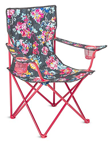 Vera Bradley Portable Folding Chair with Cup Holders and Matching Cover, Floral Outdoor Lawn Chair Holds Up to 225 Pounds, Pretty Posies