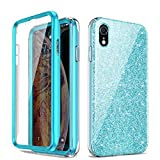 Glitter Case Compatible with iPhone XR Luxury Shiny Glitter Sparkle Bling Case for iPhone XR Bling Crystal Anti-Slick Slim Cover, Protective Case for iPhone XR with Built-in Screen Protector (Blue)