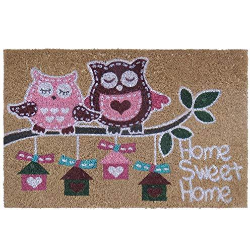 """Felpudo """"pink owl"""" fibra de coco 60 x 40 cm felpudo coco. 15 mm. espesor. impresión acrílica."""