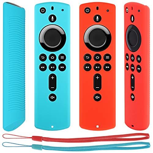 Pinowu Telecomando Antiscivolo Custodia Cover di Protezione Compatibile con Fire TV Stick 4K   Fire TV Cube Fire TV(3rd Gen) Telecomando (2pz: Turchese e Rosso)