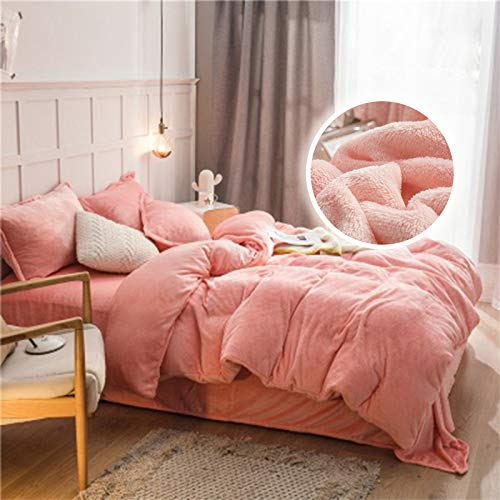Teddy Fleece Duvet Cover, Flannel Duvet Cover, with Pillow Case Thermal Fluffy Warm Soft Bedding Set, Zipper Closure,Pink,1.5m 5ft