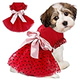 IDOMIK Dog Wedding Dress Princess Tutu Skirt, Sweet Pet Tiered Ruffle Lace Cake Red Dress, Flower Girl Camisole Dress Puppy Birthday Party Costumes Doggie Shirts Cat Outfits Apparel with Silky Bowtie