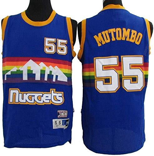 Wo nice Jerseys De Baloncesto para Hombres, Denver Nuggets # 55 Dikembe Mutombo NBA Retro Uniformes De Baloncesto Deportes Al Aire Libre Chaleco Casual Camisetas Sin Mangas,Azul,XL(180~185CM)