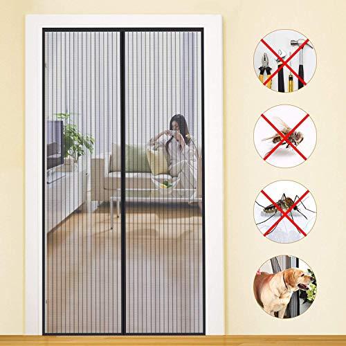 Auoiuoy Pantalla magnética para puerta, protección contra insectos, instalación adhesiva sin perforación, cierre magnético, marco completo, negro, 100 x 210 cm
