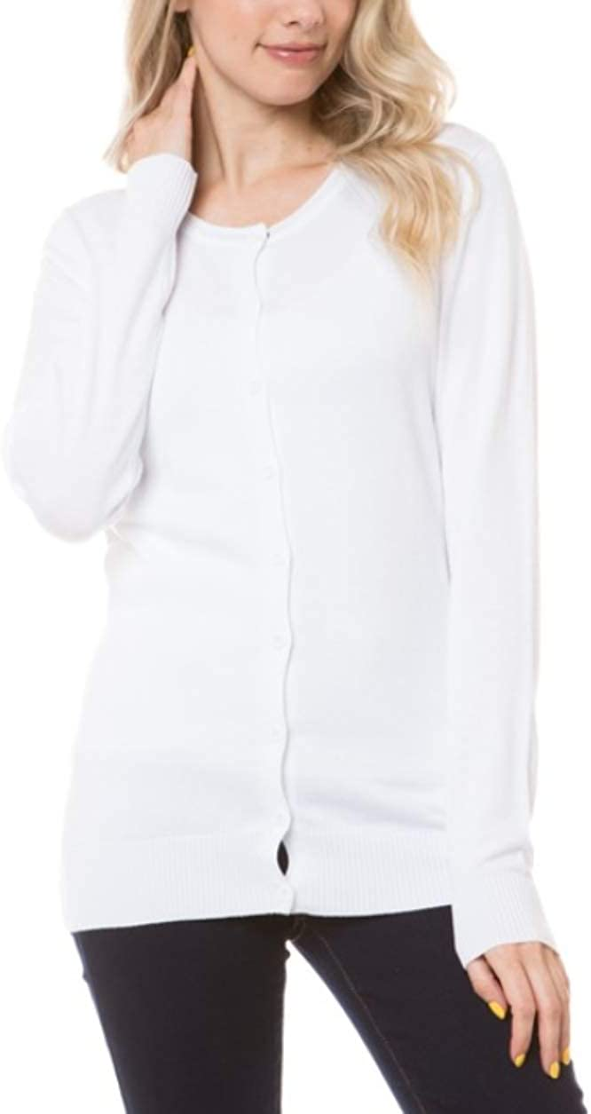 Women's Solid Basic Stretch Button Down Knit Sweater Cardigan