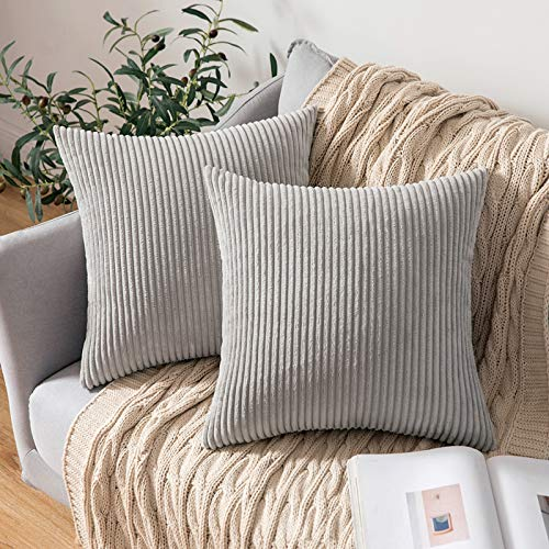 MIULEE Corduroy Soft Solid Decorative Square Throw Pillow Case Striped Cushion Cover for Home Sofa Bedroom 18 x 18 Inch 45 x 45Cm Light Grey Set of 2 Lined