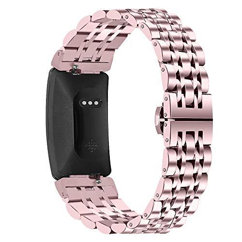 GhrKwiew Compatible con Fitbit Inspire HR Bands, Correa de Metal de Acero Inoxidable con Herramienta de desmontaje Correa de Reloj de Repuesto para Fitbit Ace 2/ Inspire/Inspire HR (Oro Rosa)