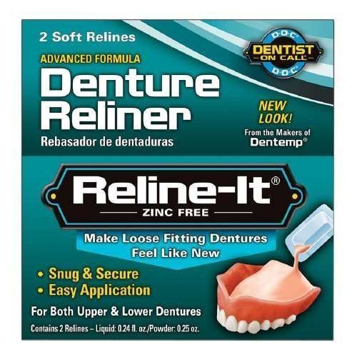 Dentist On Call Reline-It, Advanced Formular Denture Reliner, Zinc Free--2 repairs