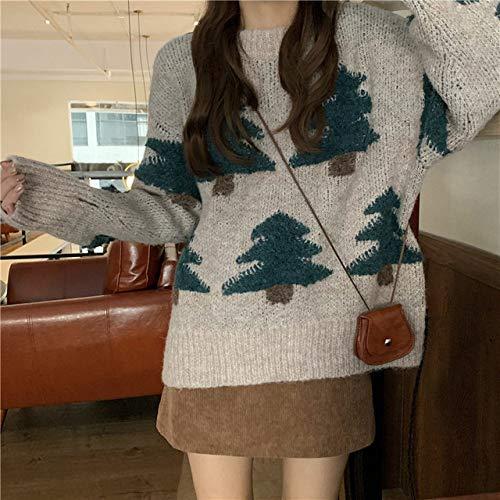 GUOYANGPAI Weihnachtsbaum Bedruckte Muster Strickpullover, Langarmpullover, Winterpullover,grau,One Size
