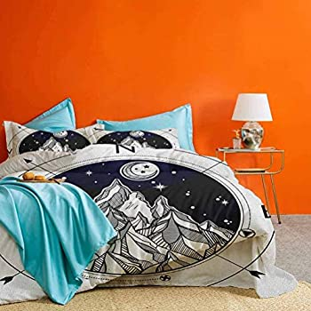 Adventure 3pcs Bedding Duvet Cover Set Hand Drawn Mountain Wind Rose Compass Bohemian Style with Night Sky Tattoo Art Simple/New Vintage Style Black White  1 Comforter Cover 2 Pillowcases  King Size