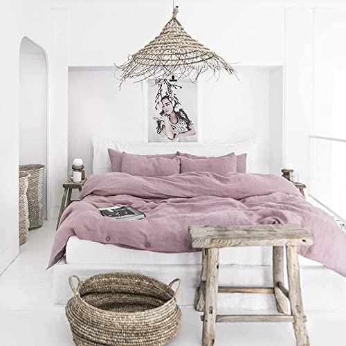 MagicLinen Linen Duvet Cover - Duvet Cover for Queen Size Bed - Linen Bedding - Woodrose Color - Queen Size