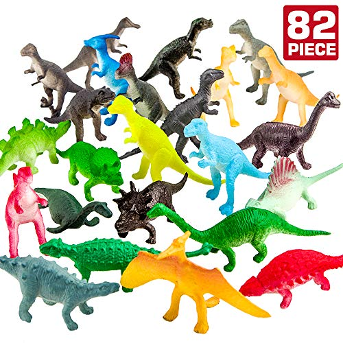 ValeforToy 82 Piece Mini Dinosaur Toy Set for Dino Party Cupcake Toppers - Assorted Vinyl Plastic Figure