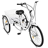Happybuy 24 Inch Adult Tricycle Series 7 Speed 3 Wheel Bike Adult Tricycle