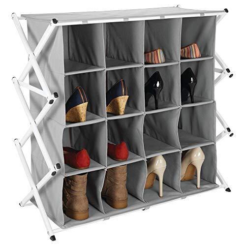mDesign Zapatero ancho para el pasillo o armario – Mueble zapatero plegable con 16 compartimentos en 4 niveles – Amplio organizador de zapatos de metal y tela – gris y blanco