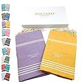 SOLTAKO XXL 2X Fouta Strandtuch Handtuch Saunatuch Badetuch Hamamtuch Yoga Decke Pestemal in Mauve & Honiggelb Farben als 2er Geschenkset, extra groß 100 x 200 cm