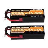 Youme Power 11.1V Batterie Lipo, Batterie Rigide 3S Lipo 6200mah 50C Deans T Plug pour Voiture / Camion / Poussette Traxxas RC, Bateau RC, Avion, UAV, Drone
