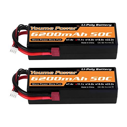 Youme Power 11.1V Batería Lipo, 3S Lipo Batería 6200mah 50C Estuche rígido Deans T Plug para Traxxas RC Coche / Camión / Buggy, Barco RC, Avión, UAV, Drone (2 Paquetes)
